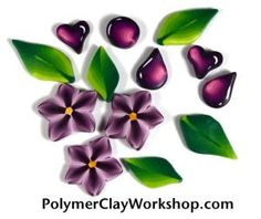 Polymer Clay Shaded Petals Leaves and Hearts