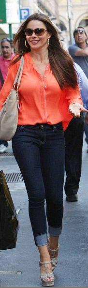 Sofia Vergara: Shirt - A.l.c. Shoes - Yves Saint Laurent Purse - Prada Sunglasses - Tom Ford