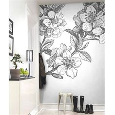 love this oversize flower mural looks like an old etching