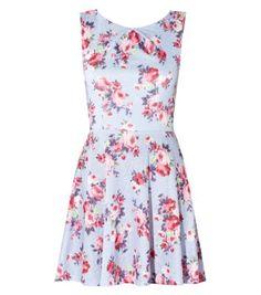 Light Blue Textured Floral Skater Dress