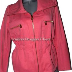 """Dana Buchman jacket coral casual zip up S This is a brand new gorgeous jacket from designer DANA BUCHMAN. What a gorgeous color!  It zips up the front with a gold zipper and has elastic in the waist with inside gold toggles that can be adjusted.  It has 2 front zippered chest pockets and 2 front hand pockets.  So versatile!  Size-Small.  Dana Buchman engraved signature zipper pulls and a Dana Buchman engraved chain hanger tag.  Love this!!!  See pics! 63% cotton and 37% poly. Bust-40-41""""…"""
