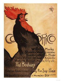 Paris, France - Periodical Cocorico Rooster Promotional Poster Lámina
