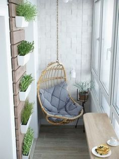 small balcony swing More Balcony Decor planters Apartment Balcony Decorating, Cozy Apartment, Apartment Living, Apartment Plants, Apartment Ideas, Studio Apartment, Apartment Balconies, Apartment Design, Cheap Apartment
