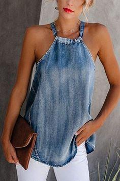 Classy Off-Shoulder Denim Halter Vest ropa reciclada blusas Classy Off-Shoulder Denim Halter Vest Artisanats Denim, Denim T Shirt, Denim Top, Mode Hippie, Mode Top, Mode Jeans, Denim Ideas, Denim Crafts, Casual Tops For Women