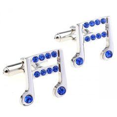 Classic Music Note blue crystal cufflinks
