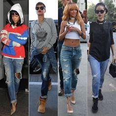 Rihanna wearing distressed boyfriend jeans