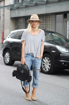 denim, grey tee, beige hat and ankle boots.