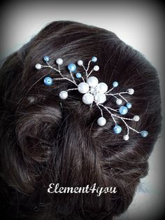 Something Blue Hair Pin, Wedding Hair Accessories, Silver wired vines, Swarovski White Blue pearls. Bridesmaid hair do, Bridal Bride pin. $18.50, via Etsy.