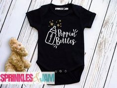 FREE SHIPPING 1st New Year - My first New Years Onesie ® - Poppin Bottles Onesie ®  - Funny - Happy New Years Tee - Black and Gold New Year