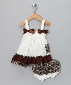 Ivory Cheetah Ruffle Swing Top & Diaper Cover by Royal Gem Clothing