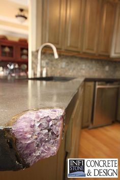 Amethyst concrete kitchen countertop - 8 Ways To Surround Your Home With Crystal Energy » In My Sacred Space