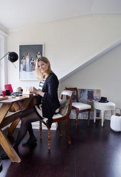 "Jewelry designer Celine Engelstad, KK Living: ""I don't want a ""hip"" or trendy home."" Photo by Yvonne Wilhelmsen, styling by Tone Kroken Jewelry Designer, Trendy Home, Home Photo, Celine, Desk, Homes, People, Furniture, Home Decor"