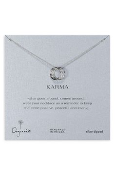 "Karma: ""What goes around, comes around... wear your necklace as a reminder to keep the circle positive, peaceful and loving..."""