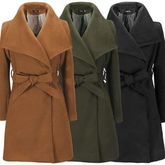 Now available on www.zolabug.com: Marian Turndown Long Coat ~ Black, Khaki, and Army Green