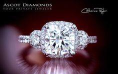 Three stone cushion cut engagement ring!