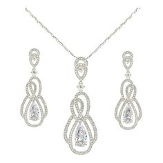 EVER FAITH® Wedding 8-shape Tear Drop Necklace Earrings Set Clear Cubic Zirconia Silver-Tone ** Awesome product. Click the image : Jewelry Sets