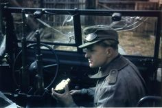 German army/   German soldier inside a truck full of bullet holes (russia 1941).
