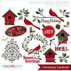Christmas Cardinals / Christmas Clip Art / por MyClipArtStore
