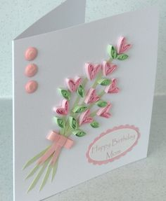 Paper quilling card quilled flowers by PaperDaisyCardDesign