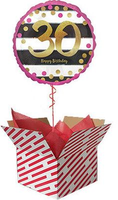 Pink And Gold 30th Birthday Helium Balloon Delivered