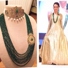 Green Emerald Kundan Choker & separate Long Necklace by HQJewels