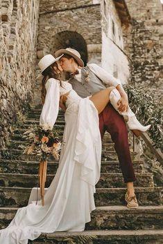 24 Cowgirl Boots Wedding Ideas For Country Celebration ❤ cowgirl boots wedding ideas with long sleeves bohemian barn ruedeseine #weddingforward #wedding #bride #weddingoutfit #bridaloutfit #weddinggown