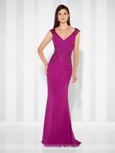 Chiffon fit and flare gown with lace trimmed cap sleeves, front and back V-necklines, directionally ruched bodice, lace motif midriff, gathered inset sweep train. Matching shawl included. Sizes: 4 – 20 Colors: Berry, Navy Blue, Platinum