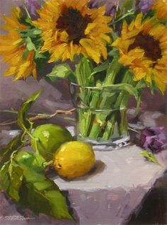 "Daily Paintworks - ""Sunflowers & Citrus"" by Karen Werner"