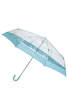 Clear Skies Always Umbrella. Sure, the day may be grey, and rain may be falling, but none of that matters when you carry this sweet umbrella! #blue #modcloth