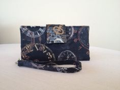 Cotton Fabric Wallet  Clocks Print Wallet by NormasBagBoutique