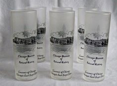 Federal Mid Century Chicago Last Dept Store Souvenir Frosted Mint Julep Glasses