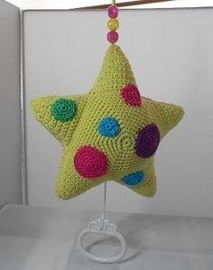Star with music - Wolshop Reuvers Crochet Music, Diy Crochet And Knitting, Crochet Stars, Crochet For Kids, Crochet Baby Toys, Crochet Dolls, Crochet Mobile, Chalkboard Print, Diy Baby Gifts
