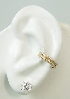 POST Conch, Pierced Cartilage Earring, Body Piercing, Post Cartilage Earring, Inner Ear Pierced, Gold Filled, Double Half Round  EDHRGFPOST
