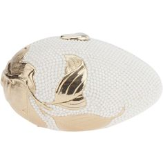 JUDITH LEIBER VINTAGE oval box clutch (6.395 RON) ❤ liked on Polyvore featuring bags, handbags, clutches, purses, judith leiber, white purse, hard clutch, vintage clutches, vintage handbags purses and floral handbags