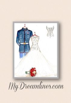 Unique wedding gift, bridal shower gift or anniversary gift! MYDREAMLINES creates wedding dress sketches for brides and brides-to-be who want their dress immortalized. http://www.operationwearehere.com/Wedding.html #Military #Wedding #Gift