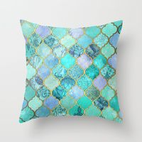 Throw Pillows featuring Cool Jade & Icy Mint Decorative Moroccan Tile Pattern by micklyn