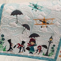Beautiful quilt background with clouds and stunning effects and equally cute and stunning designs to make your quilt look fabulous and unique. Machine Embroidery Quilts, Machine Embroidery Designs, Embroidery Stitches, Quilting Projects, Quilting Designs, Stitch Delight, Rainy Day Fun, Quilt Sets, Paper Piecing