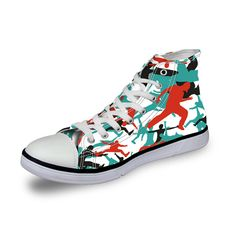 ELVISWORDS 2017 Fashion Men Canvas Casual Shoes 3D Color Painting Male High Top Leisure Footwear Men Flats Shoes Zapatos Hombres