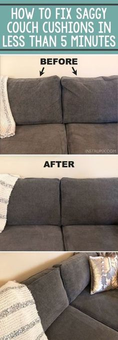 TIP: How To Fix Saggy Couch Cushions (a life hack everyone should know) Home Tip -- How to easily fix sagging couch cushions in less than 5 minutes! This DIY trick will make your couch pillows look brand new! A life hack every girl should know. House Cleaning Tips, Diy Cleaning Products, Spring Cleaning, Cleaning Hacks, Couch Cleaning, Deep Cleaning, Fix Sagging Couch, Casa Disney, Life Hacks Every Girl Should Know