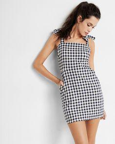 gingham chambray tie shoulder cotton sheath dress