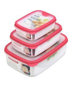 Look at this #zulilyfind! Pink Air Keeper Three-Piece Nesting Food Container Set by Lustroware #zulilyfinds
