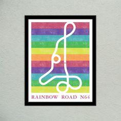 Mario Kart 64 Rainbow Road Track Map Poster | Super Mario Kart Map Print | Video Game World Map Art | Block Print Style | Video Game Art by PiDesignPrints (10.00 USD) http://ift.tt/1oXoeMt