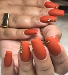 Square Nails. Autumn Nails. Orange Nails. Matte Nails. Acrylic Nails
