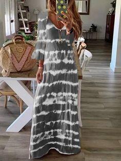 Autumn Casual Loose Plus Size Dress Straight Elegant Striped Print Dress Holiday V-Neck Long Sleeve Long Dress Vestidos Look Fashion, Daily Fashion, Fashion Online, Dress Vestidos, Maxi Dresses, Tie Dye Maxi, Tie Dyed, Tie Dye Long Sleeve, Long Sleeve Maxi