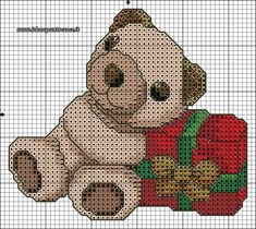 schema punto croce orsetto thun natalizio
