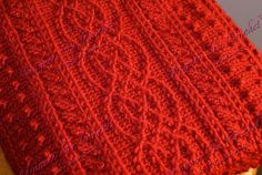 """""""Autumn Comfort"""" Crocheted Afghan 40"""" x 69"""", Autumn Red.  Aran/Fisherman style with Celtic braid design, cables and popcorn stitches."""