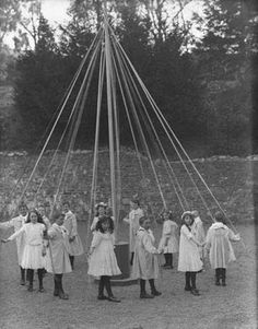 Children at play a maypole dance, CoWaterford 27 April 1909  ( We still did this when I was in grade school at Brownfield Elementary  in Lower Tyrone, DawsonPa.