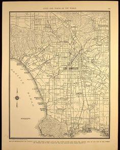1930s Vintage Map Los Angeles California Original 1935