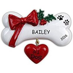 Dog Personalized Christmas Ornament / Dog Bone with Heart, Ribbon, and Holly / Dog / New Puppy / Dog Gift / Gift for Dogs Dog Christmas Ornaments, Dog Christmas Gifts, Polymer Clay Christmas, Christmas Animals, Christmas Crafts, Christmas Ideas, Christmas Decorations, Christmas Puppy, Christmas Mantels