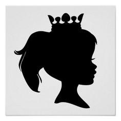 Princess Crown Silhouette   black princess in crown silhouette design on princess t shirts and ...
